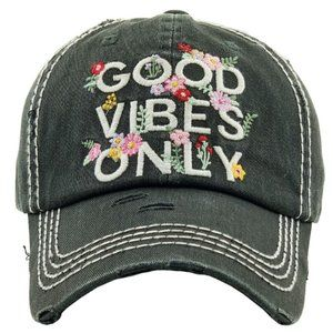 Good Vibes Only Black Distressed Adjustable Hat